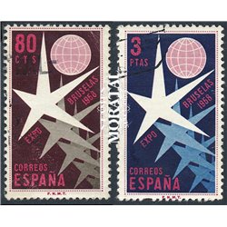 1958 Spain 877/878 Brussels Organisms © Used, Nice  (Scott)