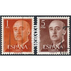 1960 Spain 937/938  General Franco-B Generic Series © Used, Nice  (Scott)