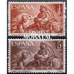 1961 Spanien 1221/1222  Flüchtling Wohltätigkeit © Gebrauchte, Zustand  (Michel)