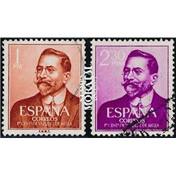 1961 Spain  Sc 990/991 Vázquez de Mella Writers and Poets (o) Used, Nice  (Scott)