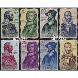 1961 Spanien 1269/1276  Entdecker Persönlichkeiten © Gebrauchte, Zustand  (Michel)