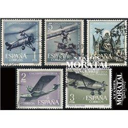 1961 Spanien 1296/1300  Luftfahrt Flugzeuge © Gebrauchte, Zustand  (Michel)