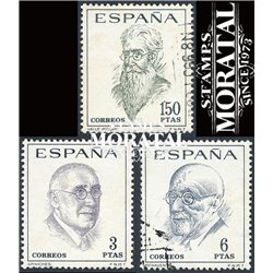 1966 Spain 1385/1387  Literati Personalities © Used, Nice  (Scott)