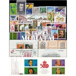 [20] 1991 Espagne Année Complete Neuf Sans Charniere LUXE   + 3 BF + 1 Carnet Timbres d'un très bon état. LUXE.