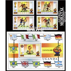 [10] 1982 Uganda 327/331 Soccer. FIFA World Cup  ** MNH Very Nice Stamps in Perfect Condition. (Scott)