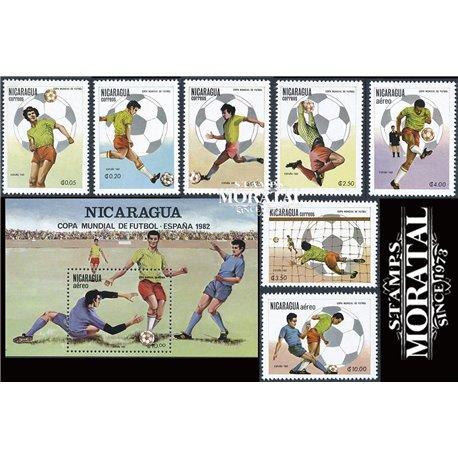 [10] 1982 Nicaragua 1139/1143, C993/C995 Soccer. FIFA World Cup  ** MNH Very Nice Stamps in Perfect Condition. (Scott)
