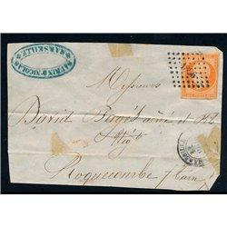 1853 France  Sc# 18  (o) Used, Nice. Emperor Napoleon III 40c. (Scott)