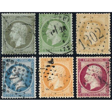 1862 France  Sc# 22/28 (-24)  (o) Used, Nice. Emperor Napoleon III (Complete) (Scott)