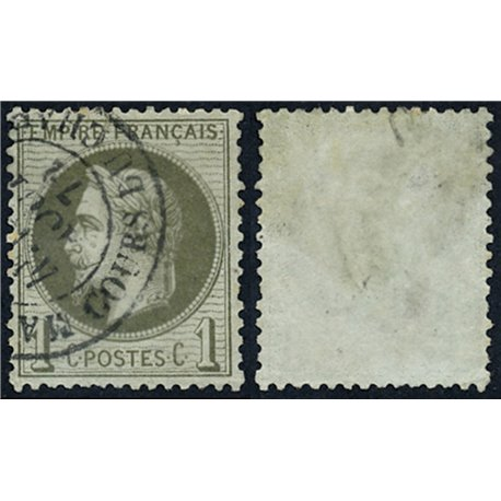 1863 France  Sc# 29  (o) Used, Nice. Napoleon III  Laurel 1c. (Scott)
