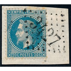 1867 France  Sc# 33  (o) Used, Nice. Napoleon III  Laurel 20c. (Scott)