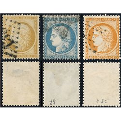 1870 France  Sc# 54, 57, 59  (o) Used, Nice. Type Ceres (Paris) (Scott)