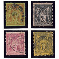 1884 France  Sc# 98, 100/102  (o) Used, Nice. Sage (Complete) (Scott)