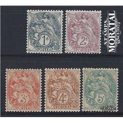 1900 France  Sc# 109/113  * MH Nice. Blanc (Scott)  Generic Series