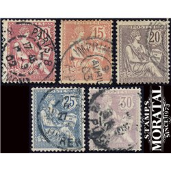 1902 France  Sc# 133/137  (o) Used, Nice. Mouchon  Retouche (Scott)  Generic Series