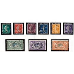 1907 France  Sc# 159, 162a, 166, 168, 170, 175, 122, 124, 127  (o) Used, Nice. Sower No Ground & Merson (Scott)