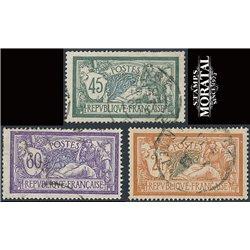 1907 Frankreich Mi# 116, 117b, 118/120  (o) Gebrauchte, Zustand. Merson (Michel)  Serie Gene