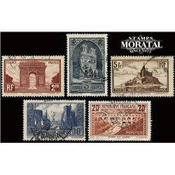 1929 Frankreich Mi# 263, 256, 240, 241 I, 242 C  (o) Gebrauchte, Zustand. Sehenswürdigkeiten (Michel)  Tourismus