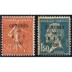 1930 France  Sc# 256/257  * MH Nice. Int. Labor Bureau Paris (Scott)