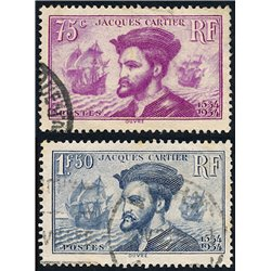 1934 France  Sc# 296/297  (o) Used, Nice. Jacques Cartier (Scott)  Personalities