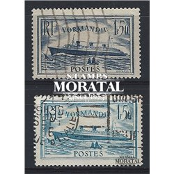 "1934 France  Sc# 300/300a  (o) Used, Nice. S.S. ""Normandie"" (Scott)  Boats"