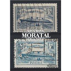 """1934 Frankreich Mi# 297, 316  (o) Gebrauchte, Zustand. """"Normandie"""" (Michel)  Boote"""