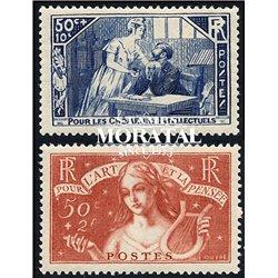 1935 Frankreich Mi# 303/304  ** Perfekter Zustand. Notleidende Geistesarbeiter (Michel)