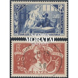 1935 France  Sc# B42/B43  (o) Used, Nice. Exiled Intellectuals (Scott)