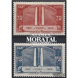 1936 France  Sc# 311/312  * MH Nice. Canadian War Memorial (Scott)