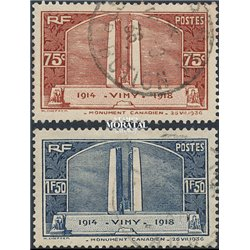 1936 France  Sc# 311/312  (o) Used, Nice. Canadian War Memorial (Scott)