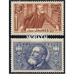 1936 France  Sc# 313/314  * MH Nice. Jean Jaurés (Scott)  Personalities