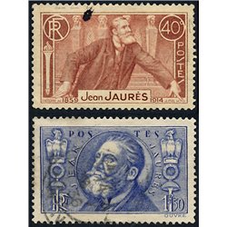 1936 France  Sc# 313/314  (o) Used, Nice. Jean Jaurés (Scott)  Personalities