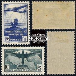 1936 France  Sc# 16/C17  * MH Nice. Flight across Atlantic (Scott)