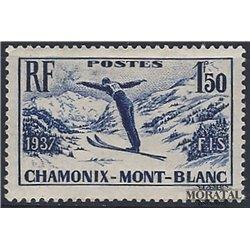 1937 Frankreich Mi# 340  ** Perfekter Zustand. Sklmeisterschaflen, Chamonix (Michel)