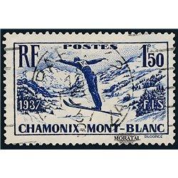 1937 France  Sc# 322  (o) Used, Nice. Intl. Ski Meet at Chamonix (Scott)