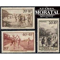 1937 Frankreich Mi# 348/350  * Falz Guter Zustand. Freizeltestaltung der Post (Michel)