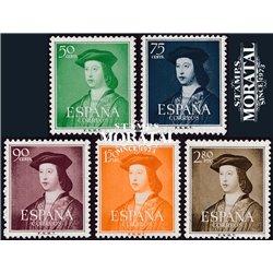1951 España 1097/1101 Isabel aéreo Reyes   (Edifil)
