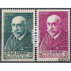 1938 France  Sc# B68/B69  * MH Nice. Jean Baptiste Charcot (Scott)  Personalities