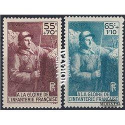 1938 Frankreich Mi# 423/424  * Falz Guter Zustand. lnfanteriedenkmal (Michel)