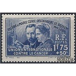 1938 France  Sc# B76  * MH Nice. Marie Curie.- Radium (Scott)  Personalities