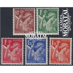 1938 Frankreich Mi# 391, 394/395, 397, 399  * Falz Guter Zustand. Type Iris (Michel)