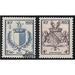 1945 Frankreich Mi# 707/708  (*) Ungummiert, Guter Zustand. Befreiung von Metz und StraBburg (Michel)  Erster