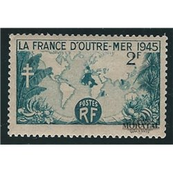 1945 France  Sc# 560  * MH Nice. World Map Showing French Possessions (Scott)