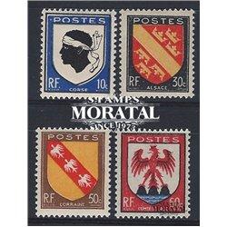 1946 Frankreich Mi# 752/755  * Falz Guter Zustand. Provinz Wappen (III) (Michel)  Schild