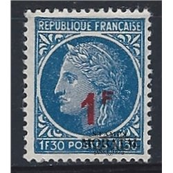 1947 France  Sc# 589  (*) MNG Nice. Ceres Surcharged (Scott)