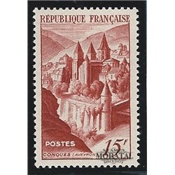 1947 France  Sc# 590  * MH Nice. Abbey Conques (Scott)  Monastery-Tourism