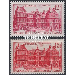 1948 France  Sc# 591/592  * MH Nice. Luxembourg Palace (Scott)
