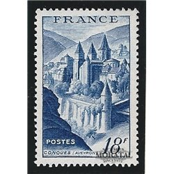 1948 France  Sc# 593  ** MNH Very Nice. Abbey Conques (Scott)  Monastery-Tourism