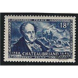 1948 Frankreich Mi# 827  ** Perfekter Zustand. François-René (Chateaubriand) (Michel)  Persönlichkeiten