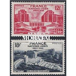 1948 Frankreich Mi# 828/829  * Falz Guter Zustand. Versammlung UNO in París (Michel)