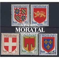 1949 Frankreich Mi# 846/850  ** Perfekter Zustand. Provinz Wappen (IV) (Michel)  Schild